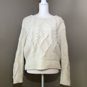 Anthro Sleeping On Snow White Cable Knit Sweater S